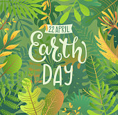 Green Banner for Earth Day for environment safety celebration on jungle background with tropical leaves and hand drawn lettering for cards, posters, advertise.Eco friendly world.Ecology concept.Vector