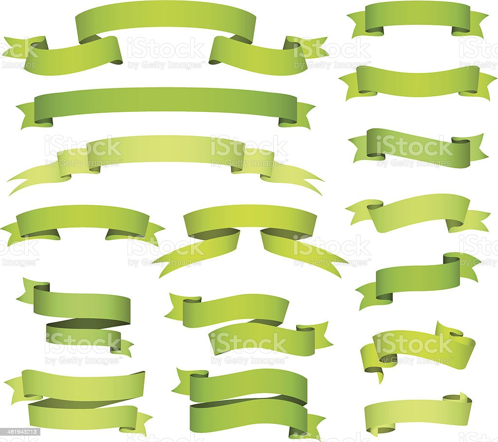 Green banners and ribbons set royalty-free stock vector art