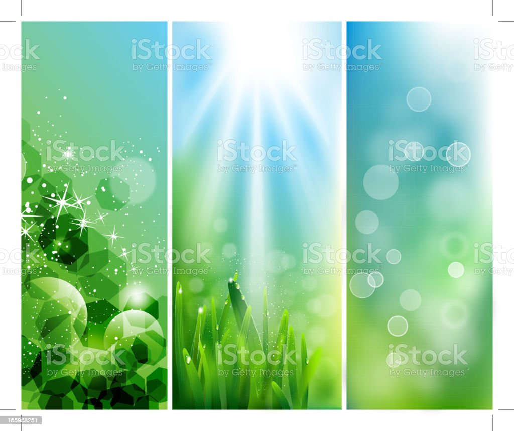 green banners vector art illustration