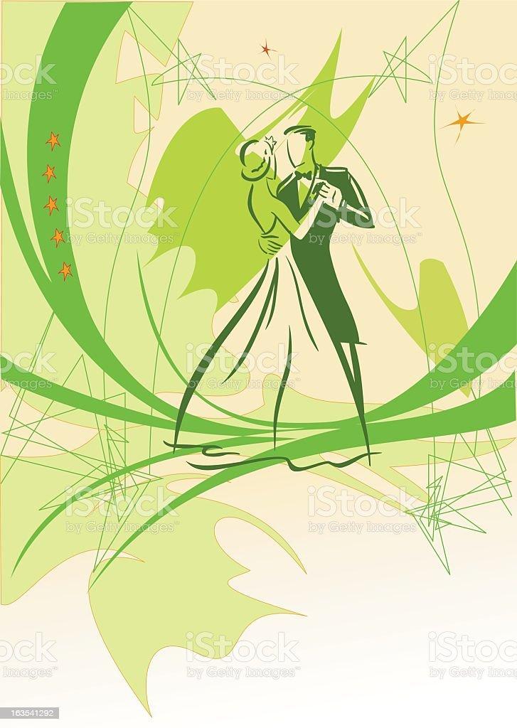 A green based illustration showing people dancing vector art illustration