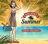 drawing of vector botanic beach holiday.This file was recorded with adobe illustrator cs4 transparent.EPS10 format.