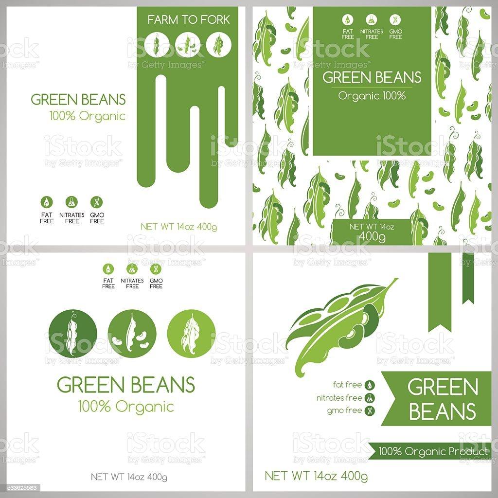 Green Beans Labels Set Stock Illustration - Download Image