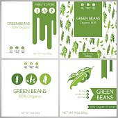 Green beans labels set.