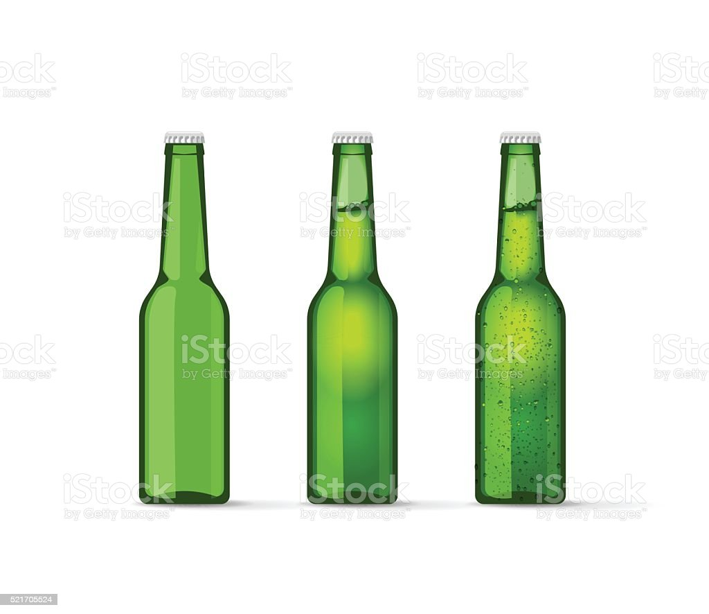 Green beer bottles set with bubbles, full and empty vector art illustration