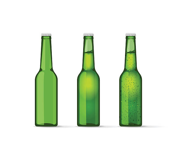 stockillustraties, clipart, cartoons en iconen met green beer bottles set with bubbles, full and empty - bierfles
