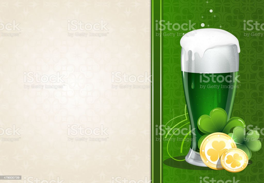 Green beer with gold coins and clover vector art illustration
