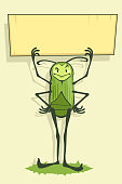 Green beetle holds a banner
