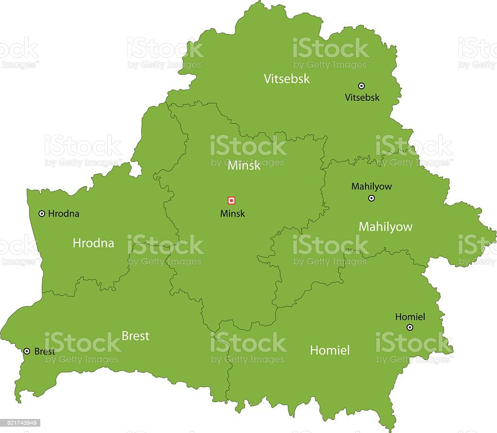 Green Belarus map vector art illustration