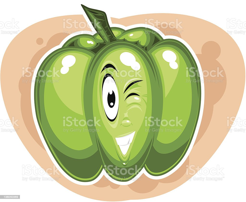 Green bell pepper character (vector) vector art illustration