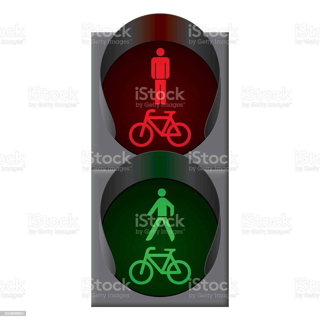 Green bicycle and pedestrian traffic lights. Vector vector art illustration
