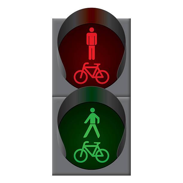 grünen fahrrad und fußgänger ampel. vektor - straßenschilder stock-grafiken, -clipart, -cartoons und -symbole