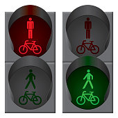 Green bicycle and pedestrian traffic lights. Vector
