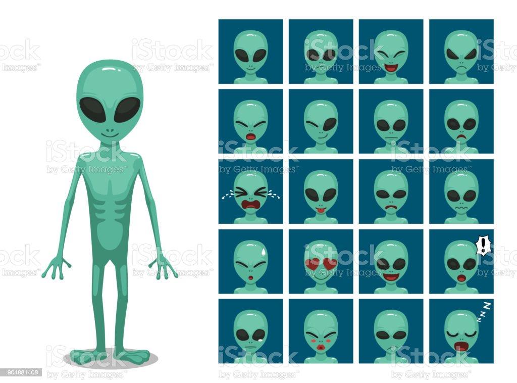 Green Big Eye Extraterrestrial Alien Cartoon Emotion faces Vector Illustration vector art illustration