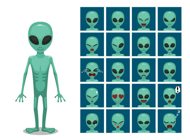 stockillustraties, clipart, cartoons en iconen met groene big eye buitenaardse alien cartoon emotie gezichten vectorillustratie - buitenaards wezen
