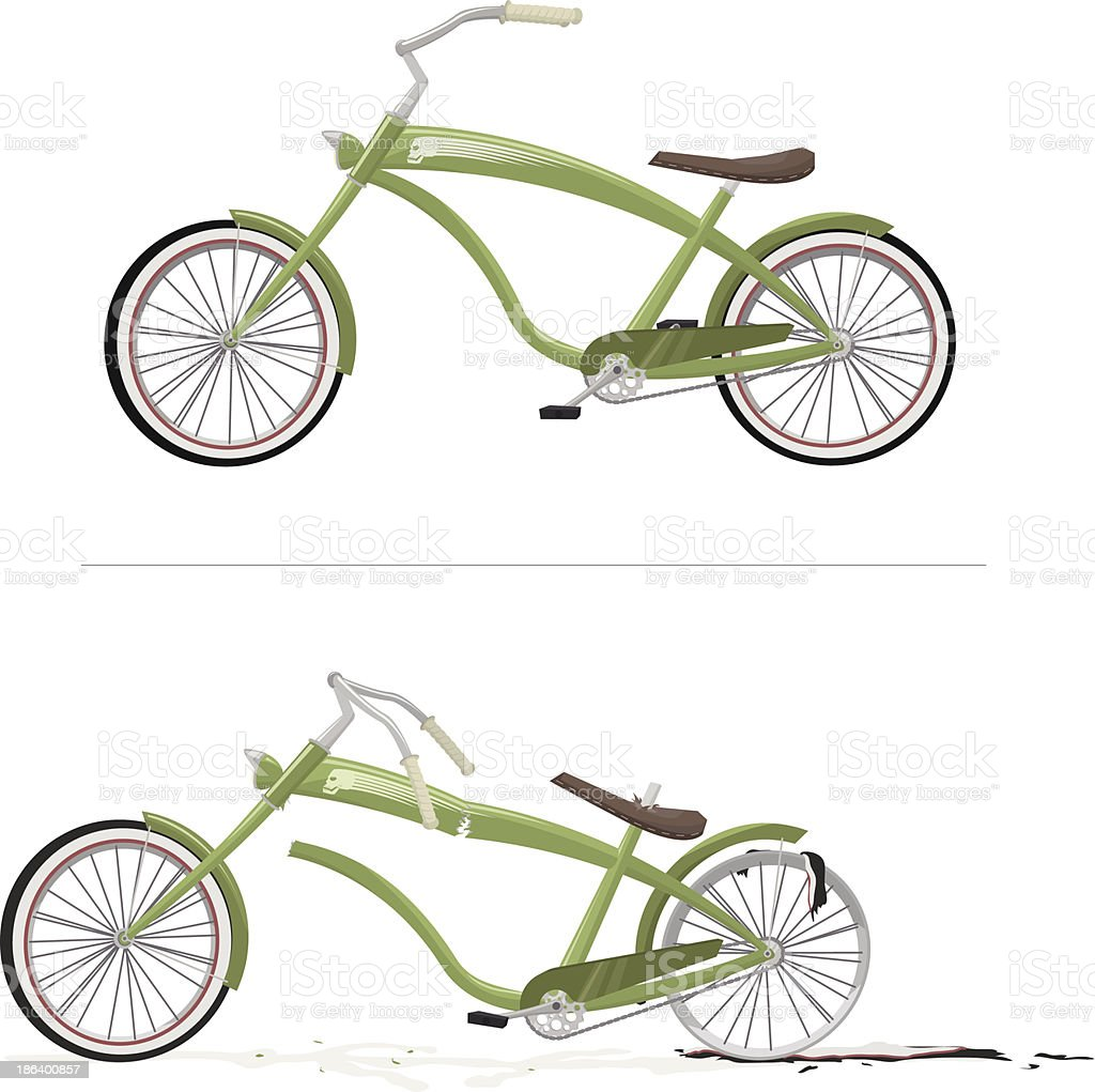 green bike new and old royalty-free stock vector art
