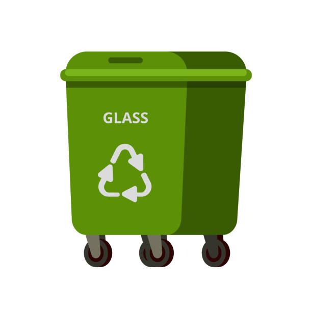 ilustrações de stock, clip art, desenhos animados e ícones de green bin with glass for recycling - box separate life