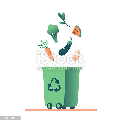 Green Bin with organic food Scraps and Grass cuttings for recycling. Vector concept of composting and remove organic waste.