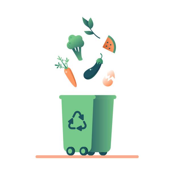 ilustraciones, imágenes clip art, dibujos animados e iconos de stock de green bin con comida orgánica esquejes de chatarra y hierba para reciclaje. - leftovers