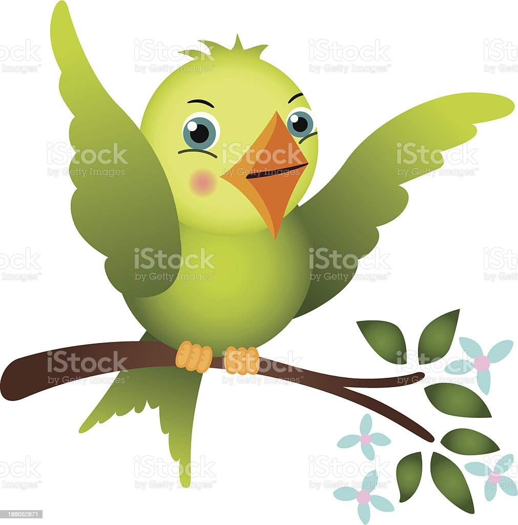 Green bird on tree branch royalty-free stock vector art