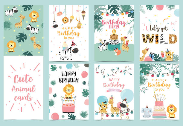 Green birthday card with tiger, giraffe, zebra,cake,leaf,rainbow,light and balloon Green birthday card with tiger, giraffe, zebra,cake,leaf,rainbow,light and balloon happy birthday stock illustrations