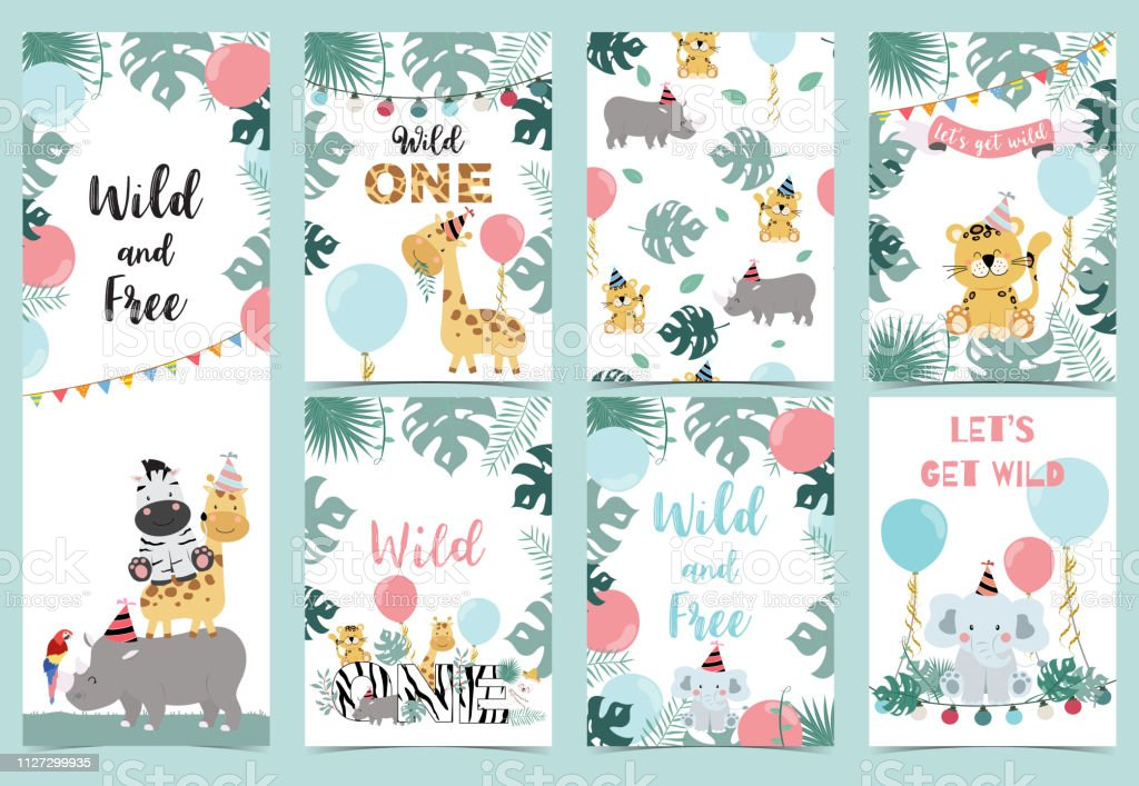 Green birthday card with tiger,elephant, giraffe, zebra,cake,leaf,rainbow and balloon royalty-free green birthday card with tigerelephant giraffe zebracakeleafrainbow and balloon stock illustration - download image now