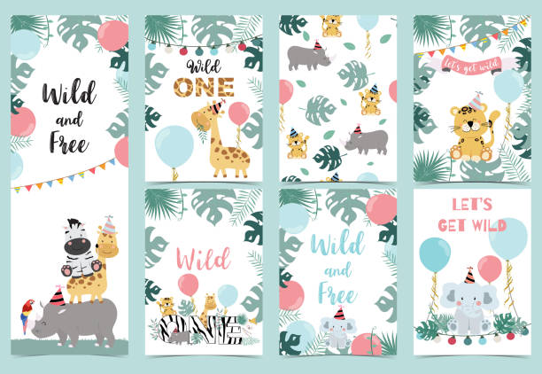 green birthday card with tiger,elephant, giraffe, zebra,cake,leaf,rainbow and balloon - baby animals stock illustrations