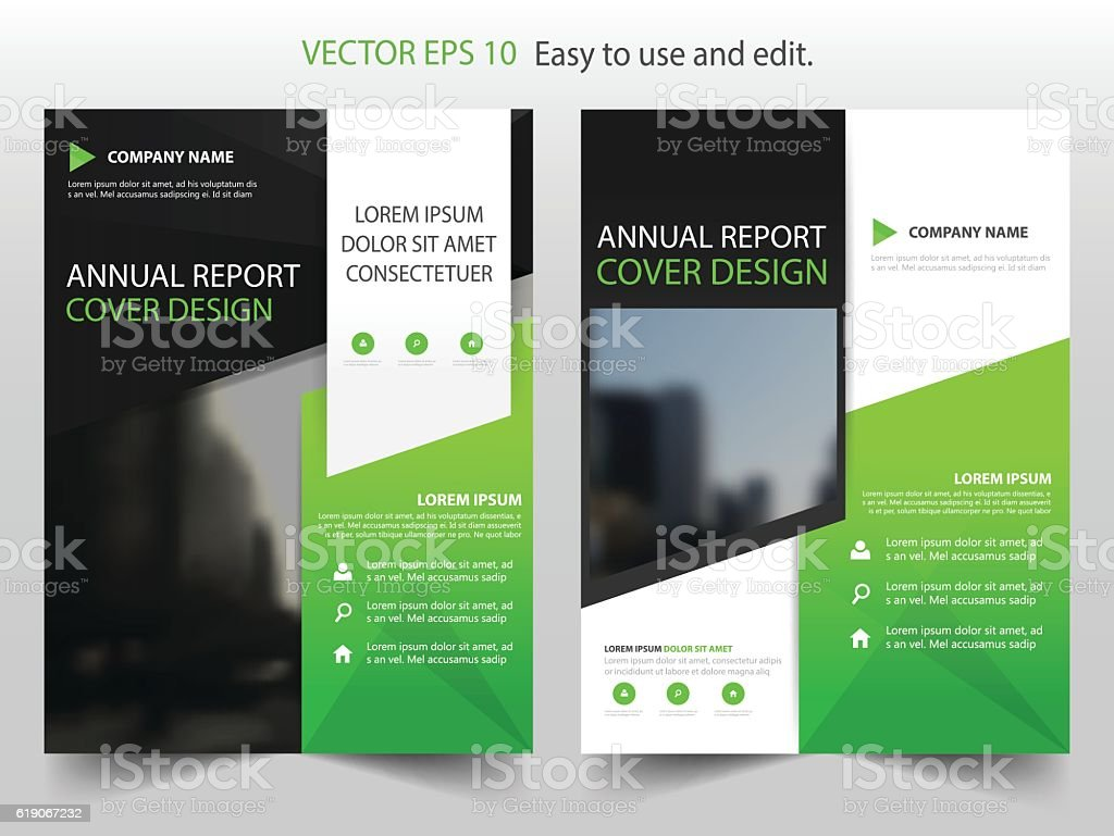 Green black abstract annual report brochure design for Black brochure template