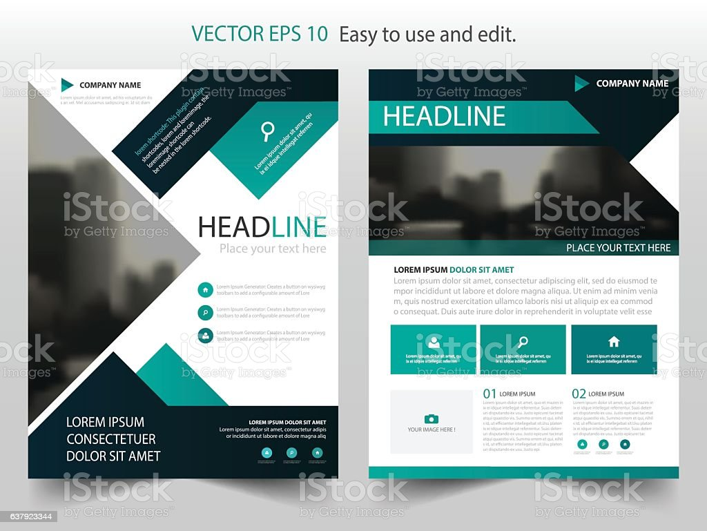 Green Black Abstract Brochure Annual Report Flyer Design Template