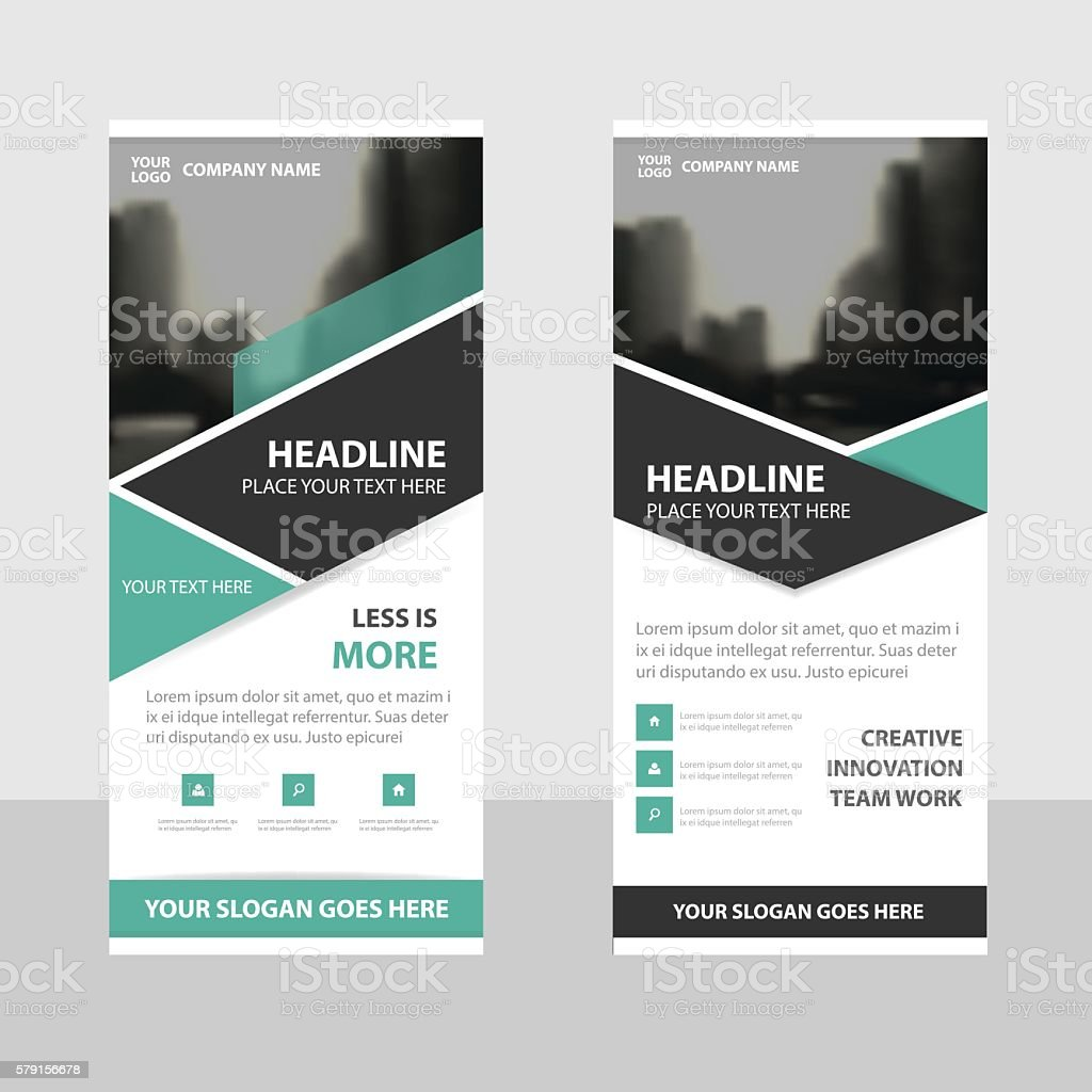 Green Black Business Roll Up Banner Flat Design Template Abstract ...