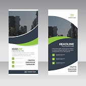 Green black curve astract triangle Business Roll Up Banner flat