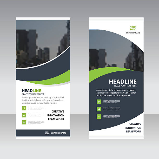 Green black curve astract triangle Business Roll Up Banner flat Green black curve astract triangle Business Roll Up Banner flat design template ,Abstract Geometric banner template Vector illustration set, abstract presentation template rolling stock illustrations