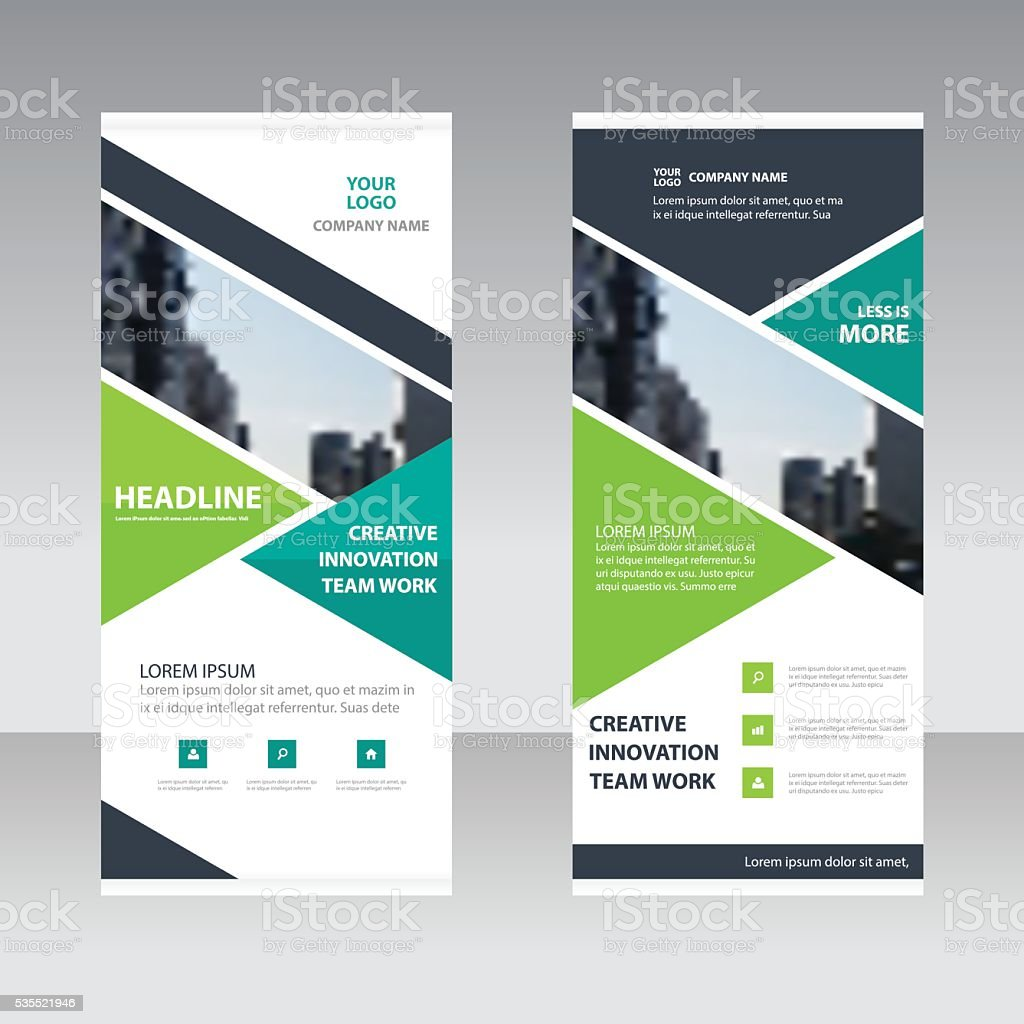 Green black triangle Business Roll Up Banner flat design vector art illustration