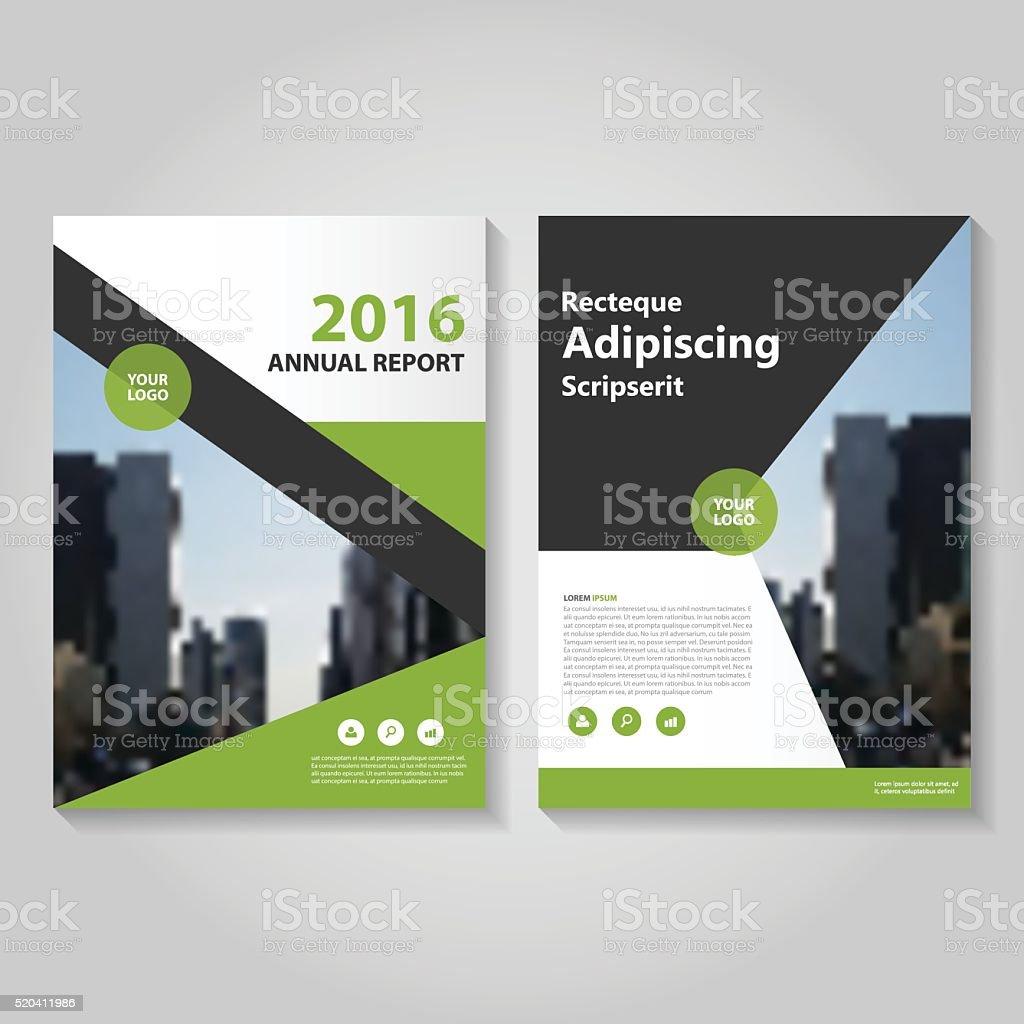 Green Black Vector Annual Report Leaflet Brochure Flyer Template