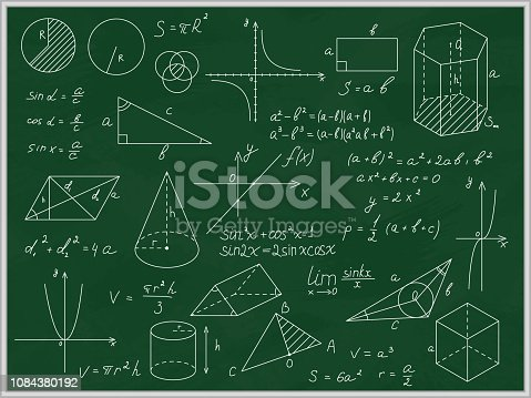 Green Blackboard Mathematical with Thin Line Shapes and Inscriptions Include of Formula, Calculation and Equation. Vector illustration