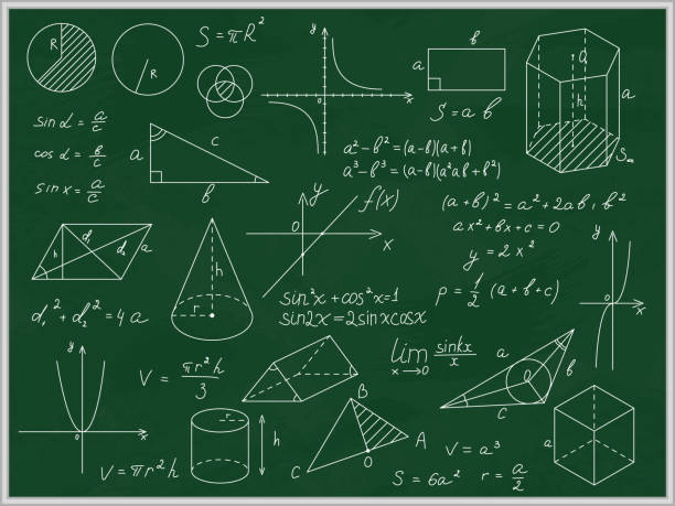 green blackboard mathematical with thin line shapes and inscriptions. vector - algorithm stock illustrations