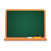 Green school chalkboard blackboard with chalk and sponge. Wooden frame. Clipping paths included.