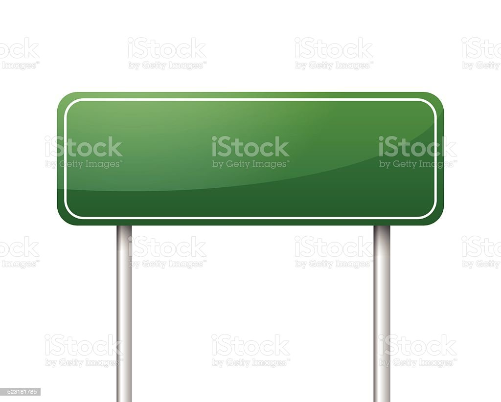 Green blank road sign vector vector art illustration