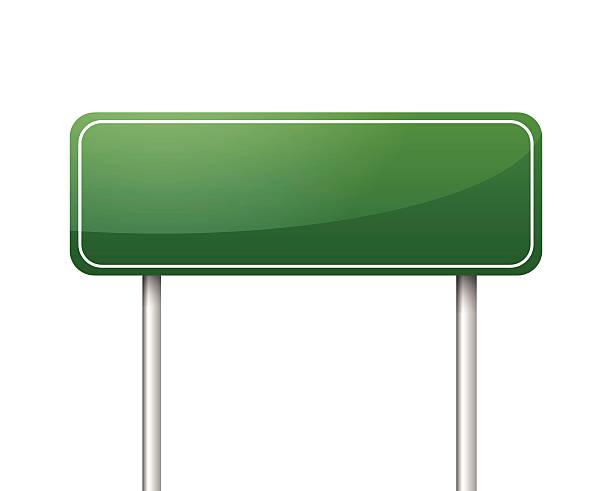Green blank road sign vector vector art illustration