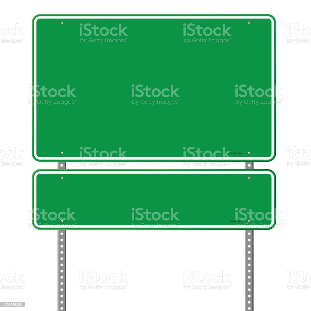 Green Blank Roadsign vector art illustration
