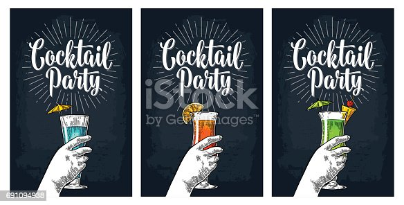 Green, blue and red cocktail with slice pineapple, lemon and umbrella. Vintage vector engraving illustration with lettering. Isolated on dark background. For poster, menu, invitation to party.