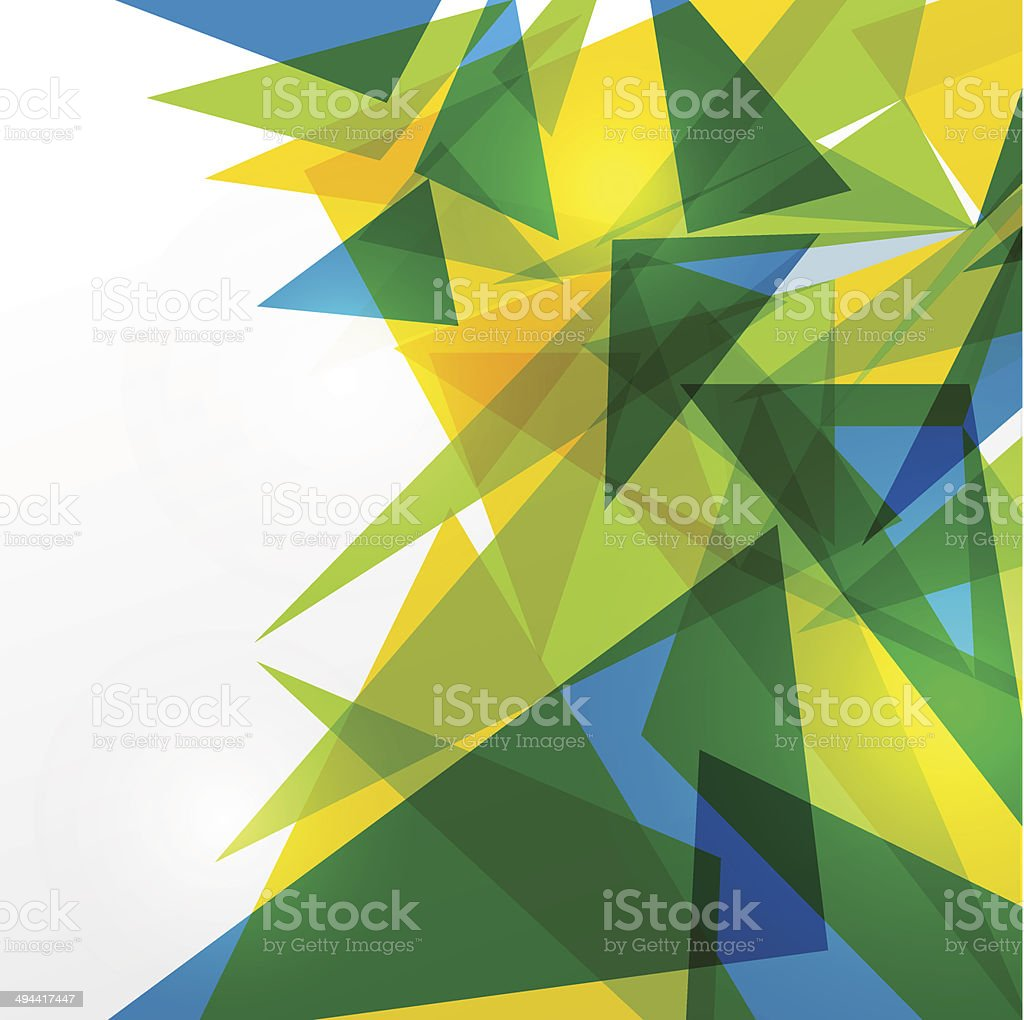 Green, blue and yellow triangles on white vector art illustration