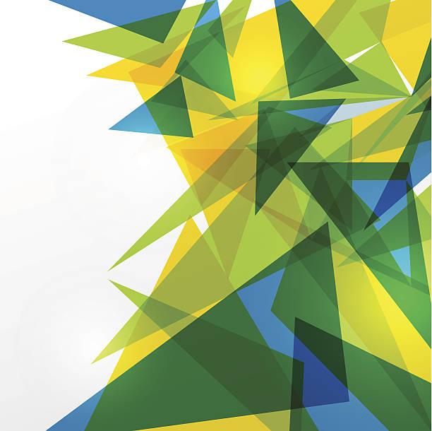 grün, blau und gelben dreiecken auf weiß - fußballkunst stock-grafiken, -clipart, -cartoons und -symbole