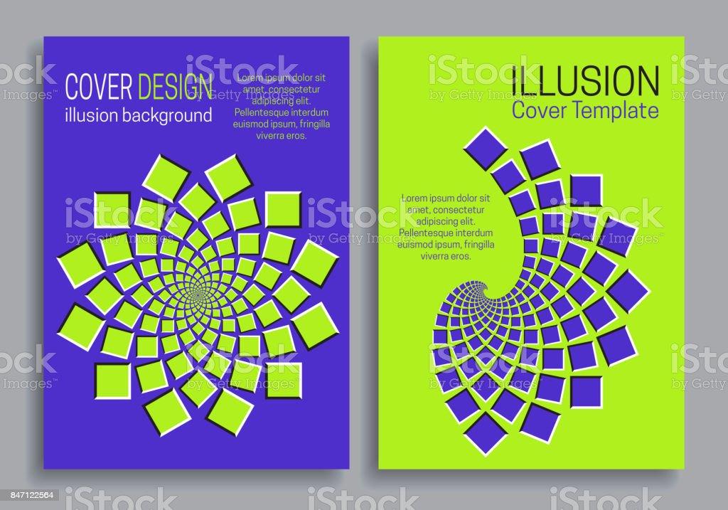 Grün Blau Broschüre Cover Vorlagen Mit Optischen Illusion ...