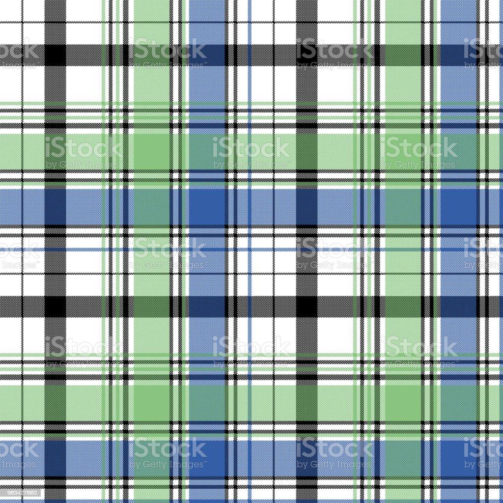Zielony niebieski sprawdź piksel kratowy bez szwu wzór - Grafika wektorowa royalty-free (Abstrakcja)