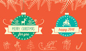 green blue Christmas badges with ribbon on red scribbled background