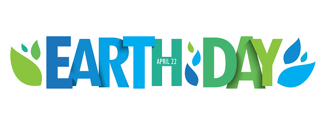EARTH DAY green blue gradient typography banner