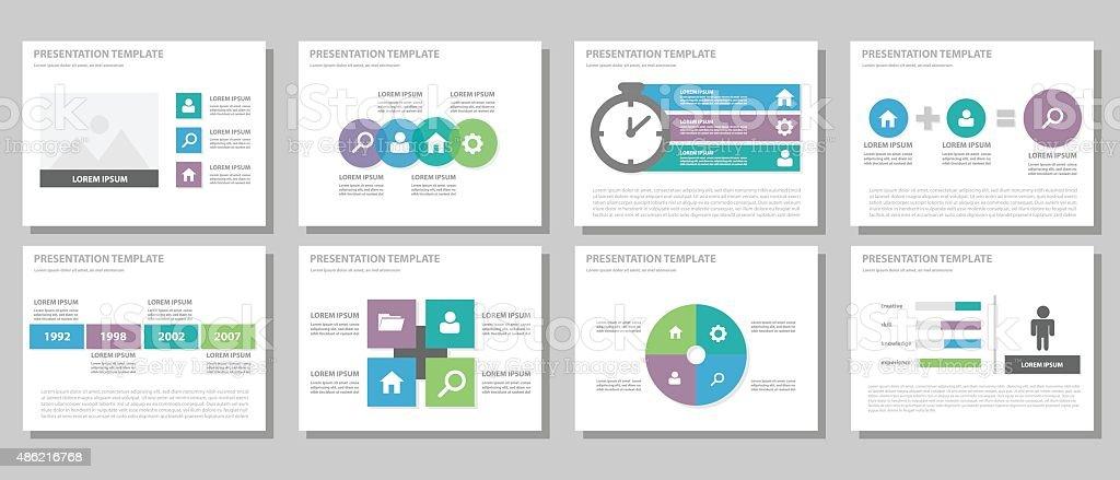 green blue purple multipurpose presentation template flat design, Presentation templates
