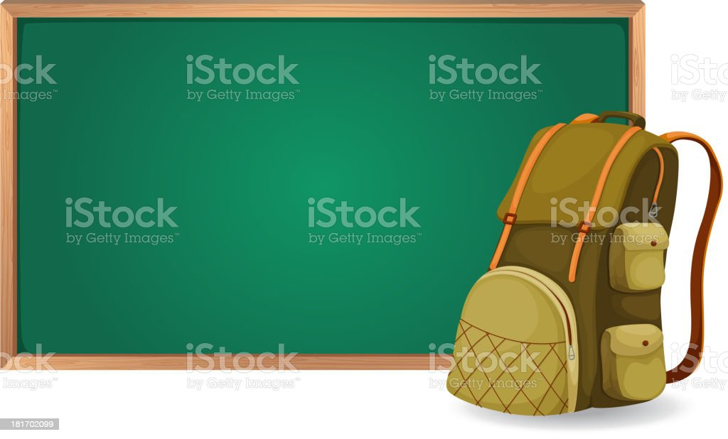 Green board and school bag royalty-free green board and school bag stock vector art & more images of backgrounds
