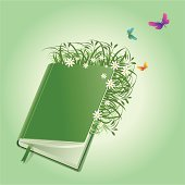Vector illustration of a Green Book full of Nature