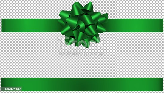 green bow and ribbon illustration for christmas and birthday decorations vector